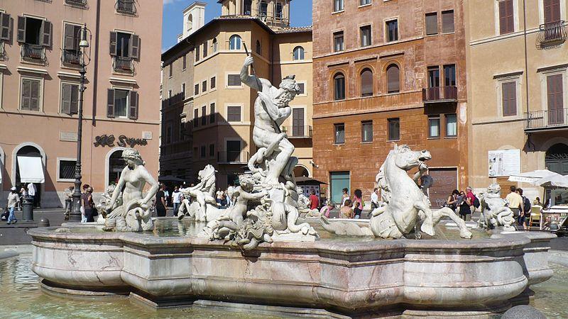 Fontaine de Neptune sur la Piazza Navona à Rome. Photo de Colin W.