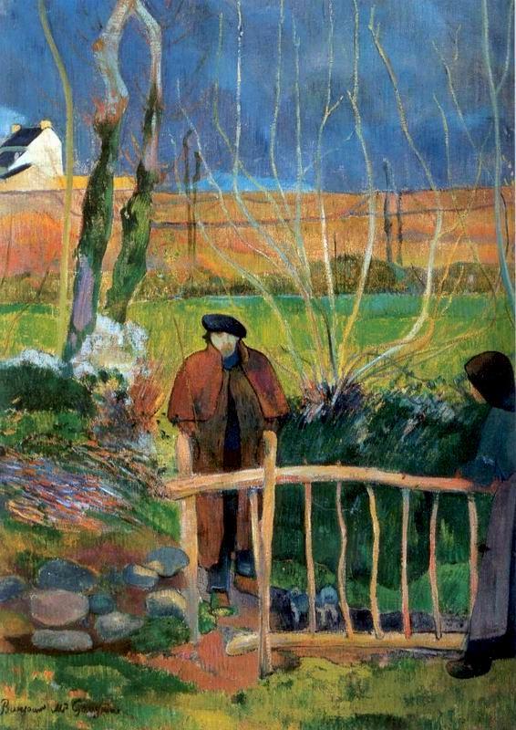 """Peinture de Paul Gauguin """"Bonjour Monsieur Gauguin"""" (1889) au musée d'art Hammer de Los Angeles."""