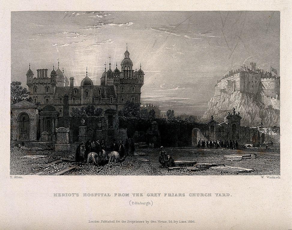 Lieux d'inspiration pour la création d'Harry Potter : Vue sur l'Heriot's Hospital d'Edimbourg et sur le chateau depuis Grey Friars Church (1836) par W. Woolnoth et T. Allom