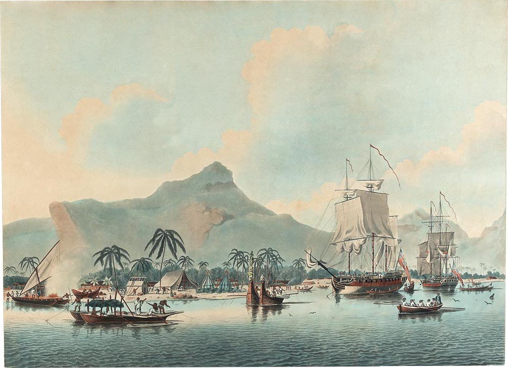 Paysage du Pacifique, illustration de John Cleveley the Younger et Francis Juke au National Maritime museum de Greenwich à Londres.