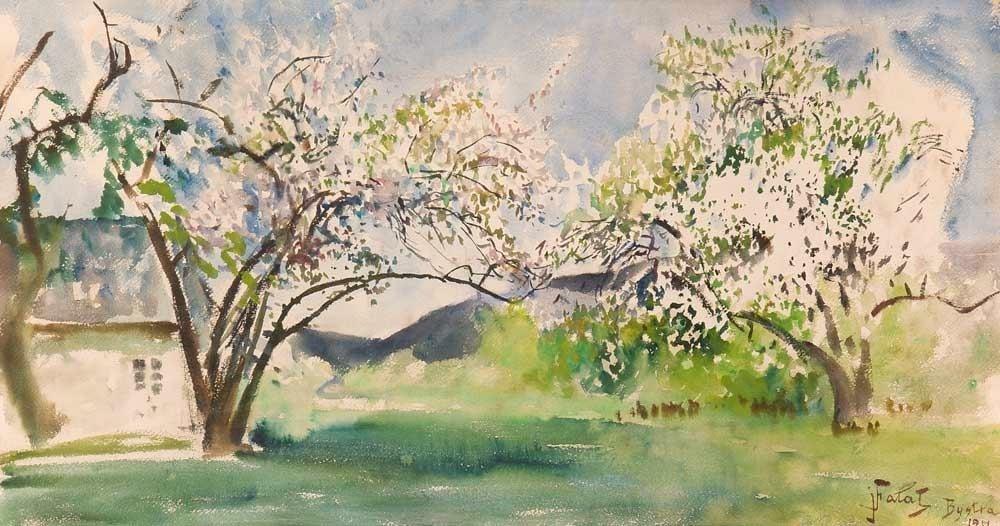 """""""Paysage d''une maison avec un arbre"""" de Julian_Fałat (1911) au Musée National de Cracovie."""