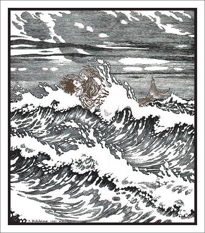 Petite sirène sauve le prince de la tempête - Illustration d'Ivan Bilibin