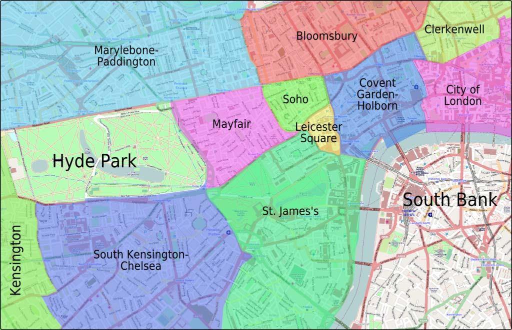 Carte des quartiers du centre de Londres - Image de Peter Fitzgerald