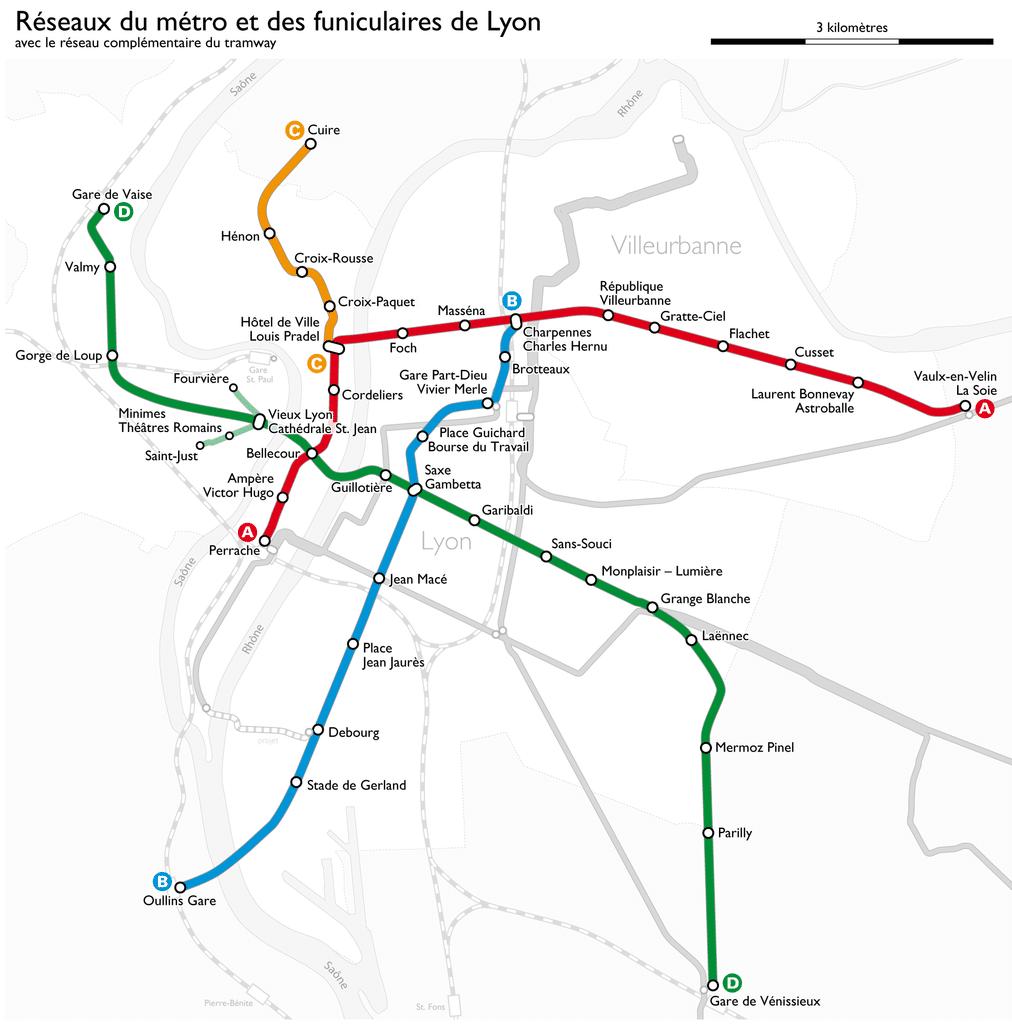 Carte du réseau de métro à Lyon - Photo de Maximilian Dörrbecker (Chumwa)