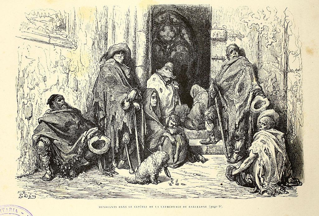 Mendiants dans le cloître de la cathédrale de Barcelone - Illustration de Gustave Doré.