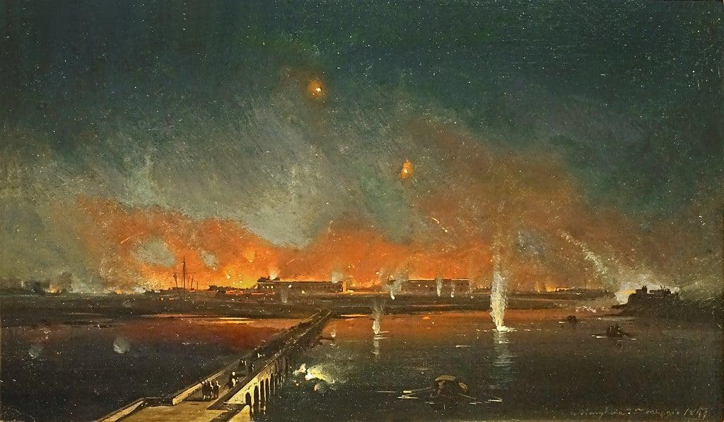 """Toile """"Fort Marghera"""" d'Ippolito Caffi dans le Musée Correr à Venise - Photo de Dalbera"""