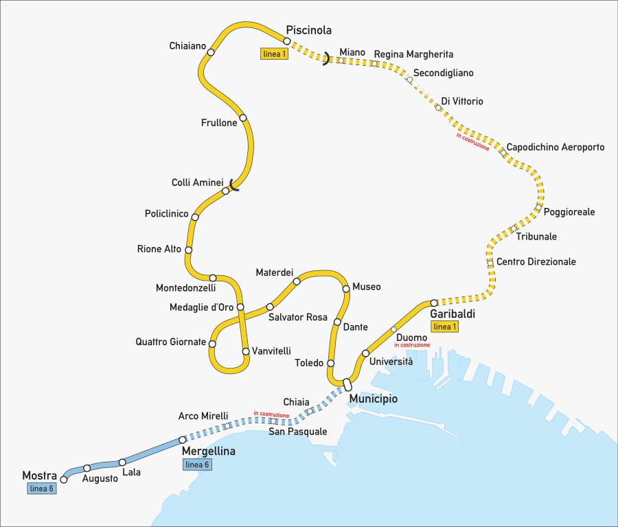 Carte de la ligne 1 du métro à Naples.