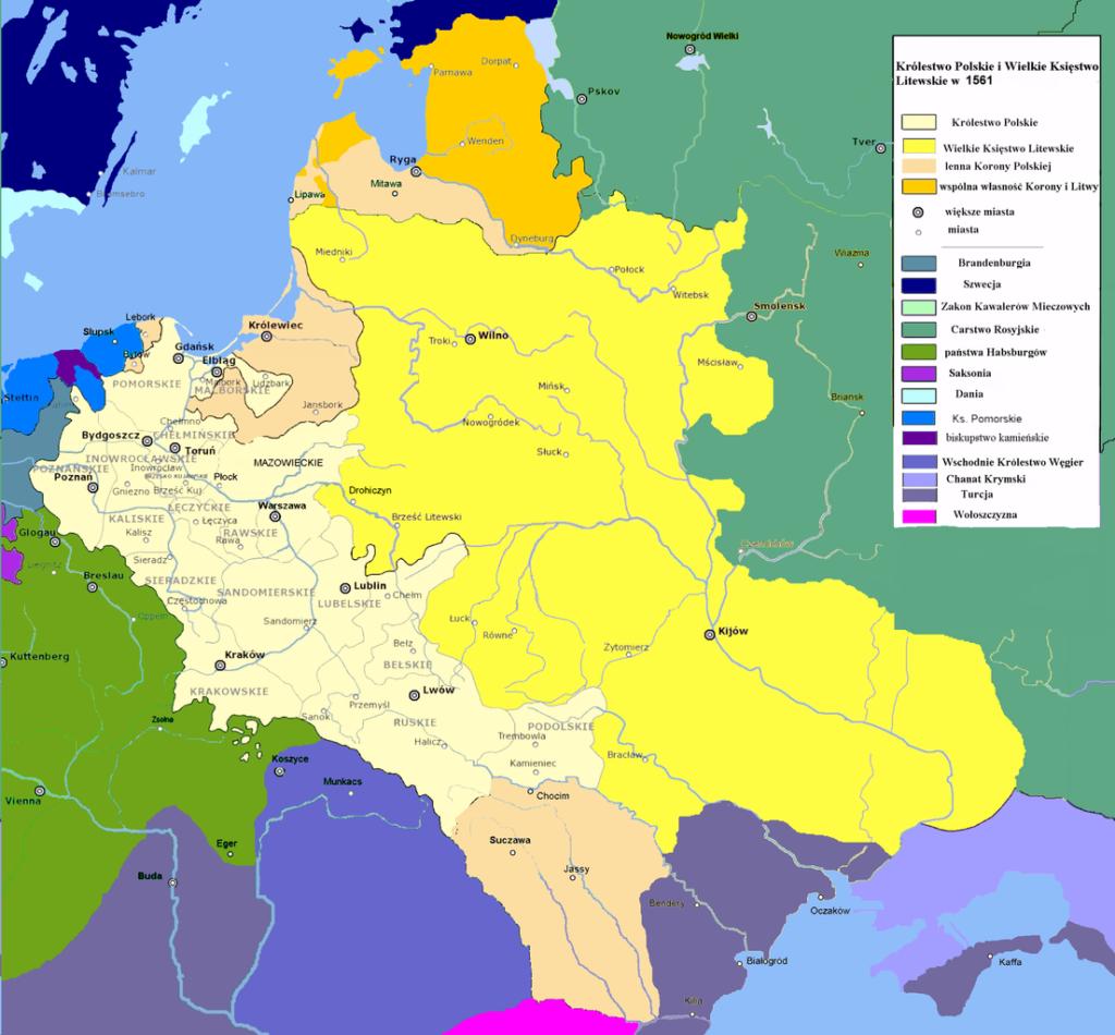 Carte de la Pologne et Lituanie en 1561 - Image de Maciej Szczepańczyk based on layers of user:Halibutt