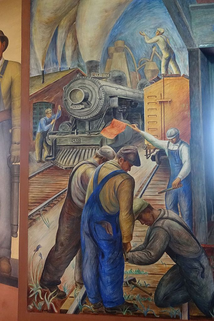 "Fresque de William Hesthal ""Railroad and Shipping"" à la Coit Tower de San Francisco."