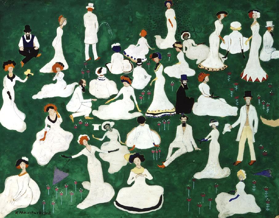 """> """"Repos. Société avec des chapeaux hauts de forme"""" (1908) de Kazimir Malevich au Musée Russe de St Petersbourg."""