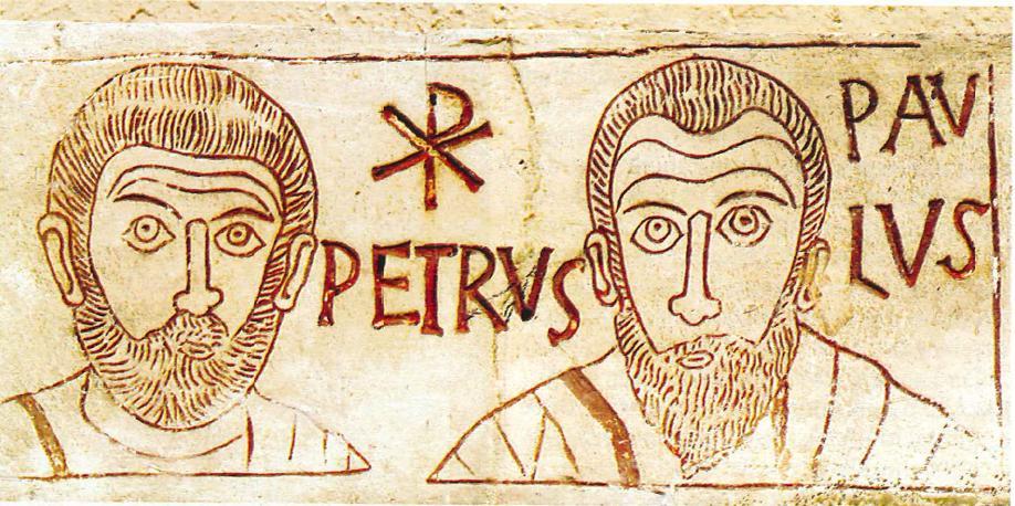 Fresque représentant Saint Pierre et Saint Paul se trouvant dans les catacombes au sud de Rome.