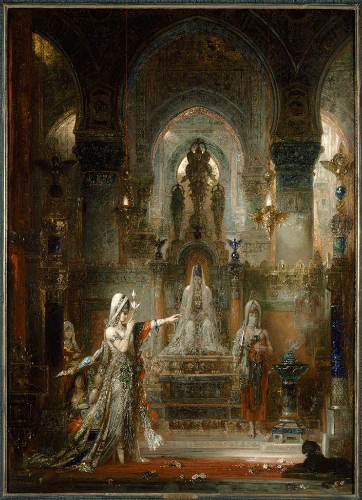 """Toile de Gustave Moreau """"Salomé dansant devant Hérode"""" (1876) au musée d'art Hammer de Los Angeles."""