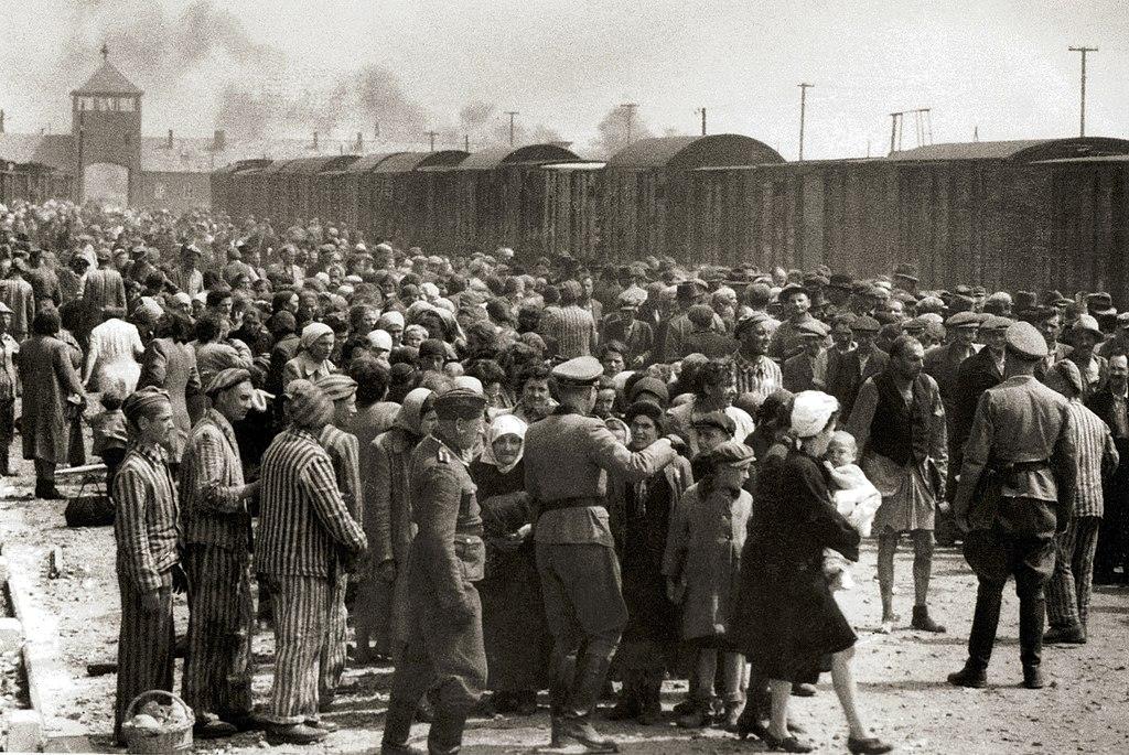 Sélection sur la rampe d'Auschwitz Birkenau avec les deux colonnes d'hommes et de femmes et enfants.