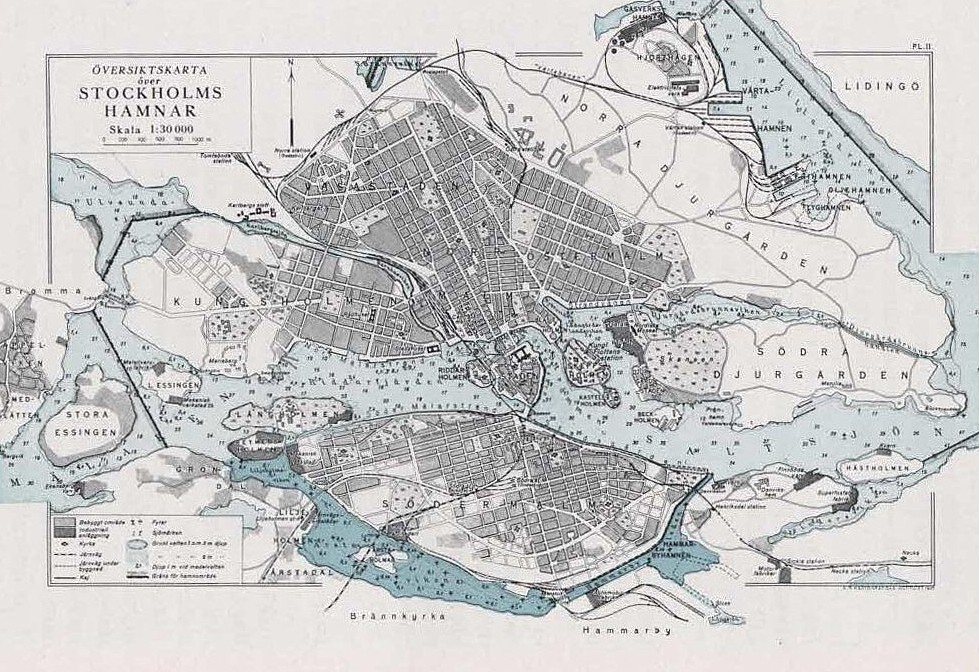 Carte de Stockholm en 1929.