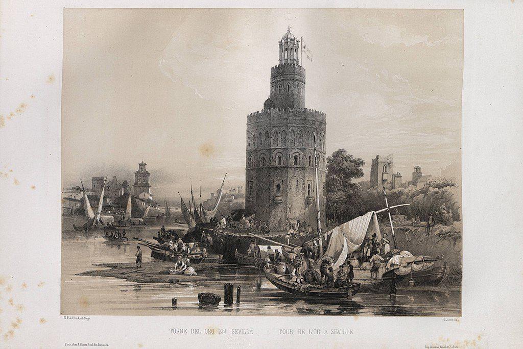 Illustration : Torre del Oro au 19e siècle à Séville.
