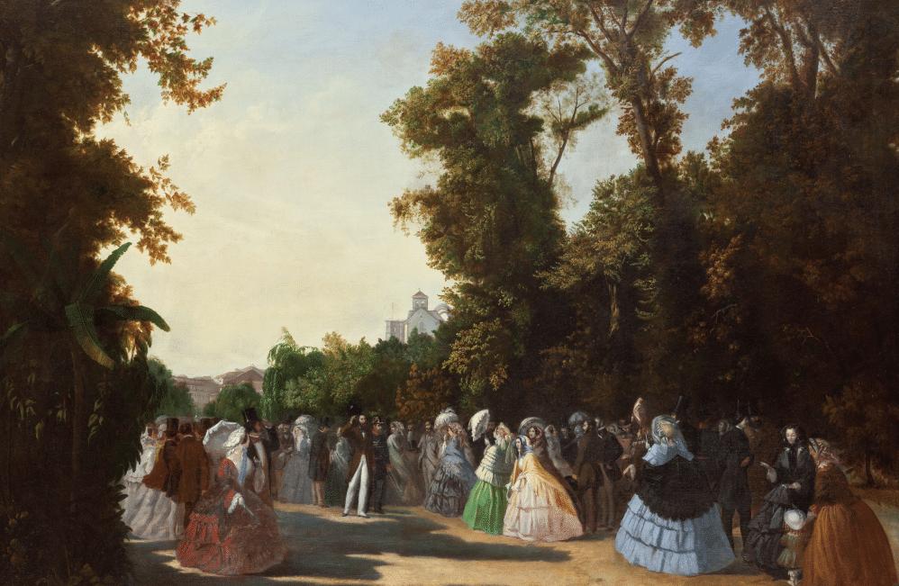 """""""Vue sur le  Passeio Público"""" (1856) ancêtre de l'Avenida da Liberdade à Lisbonne, ici au sommet de sa gloire avec le passage du roi par Leonel Marques Pereira"""