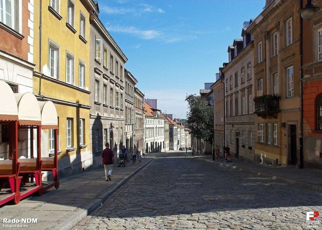 Une des rues de la Nouvelle Ville de Varsovie descendant à la rive de la Vistule. Photo fotopolska.eu / Rado NDM