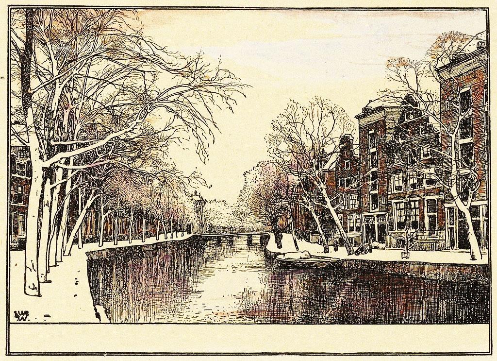 > Canal Herengracht à Amsterdam en 1900 vu par Willem Wenckebach