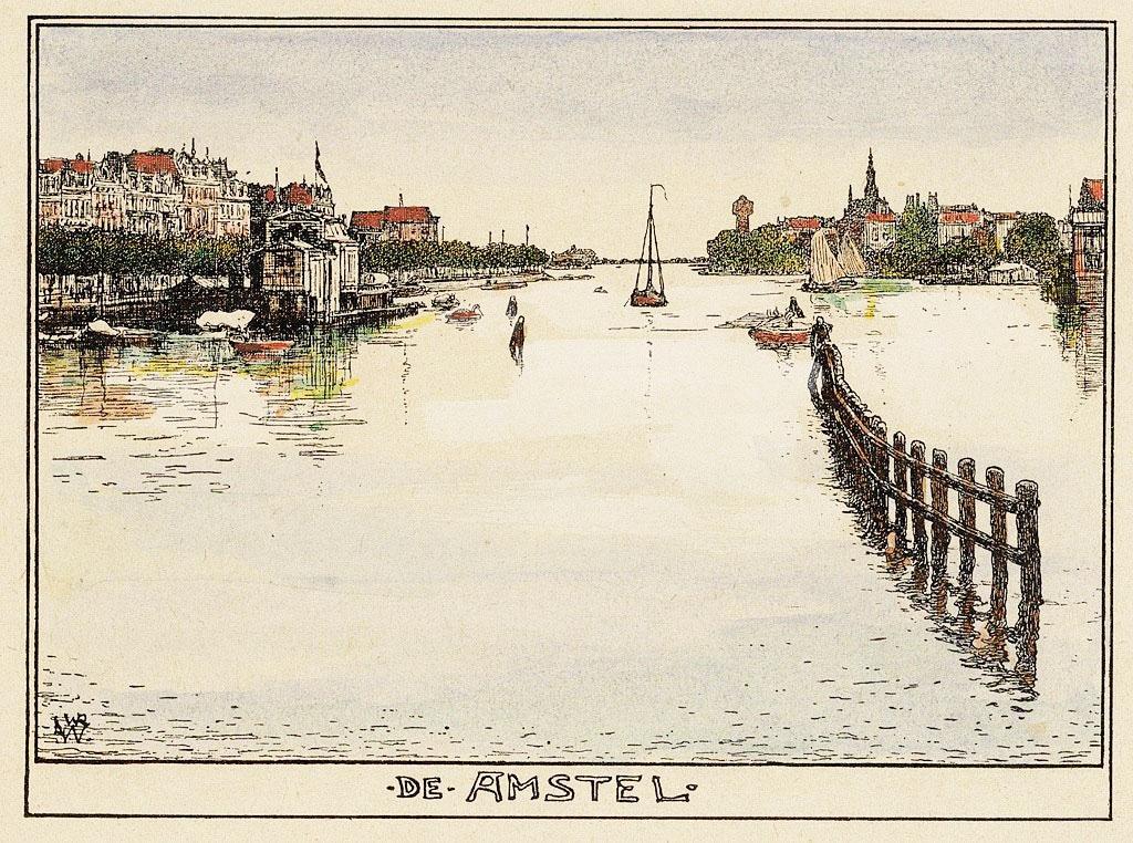 > Fleuve Amstel à Amsterdam en 1900 vu par Willem Wenckebach
