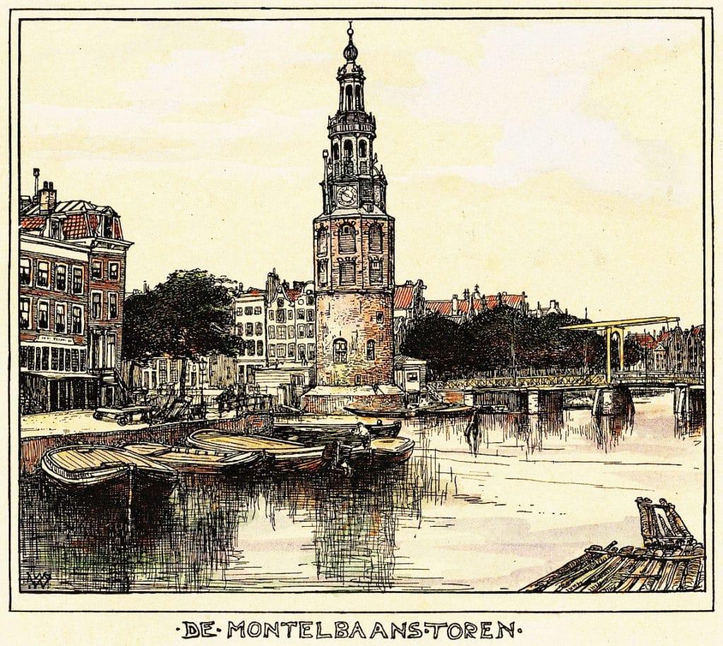 > Montelbaanstoren à Amsterdam en 1900 vu par Willem Wenckebach