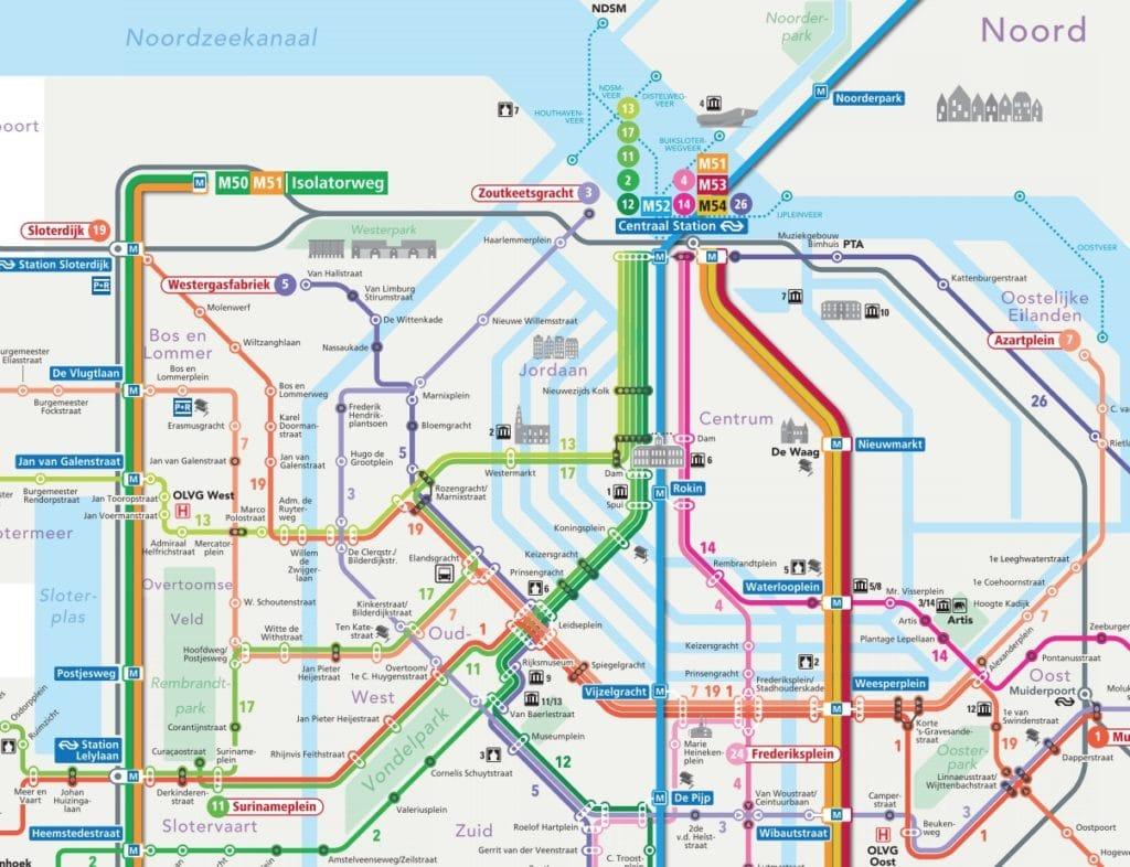 Carte du métro et tramway d'Amsterdam : Partie centrale.