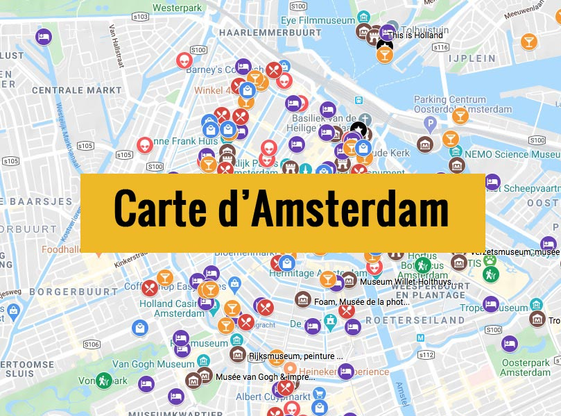 Carte d'Amsterdam aux Pays-bas avec tous les lieux du guide