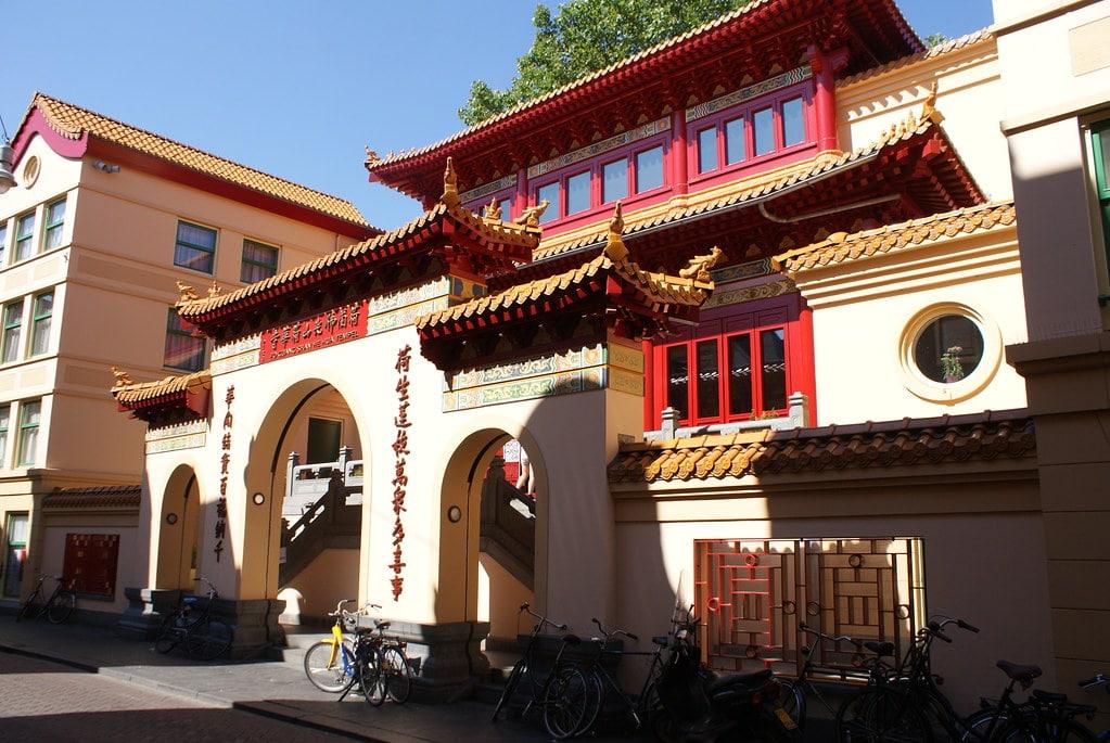 Temple bouddhiste dans le quartier de Chinatown à Amsterdam.
