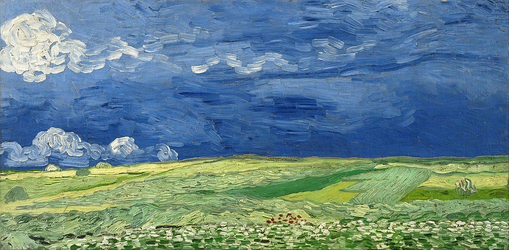 Champs de blé sous un ciel orageux de van Gogh au Musée Van Gogh d'Amsterdam.