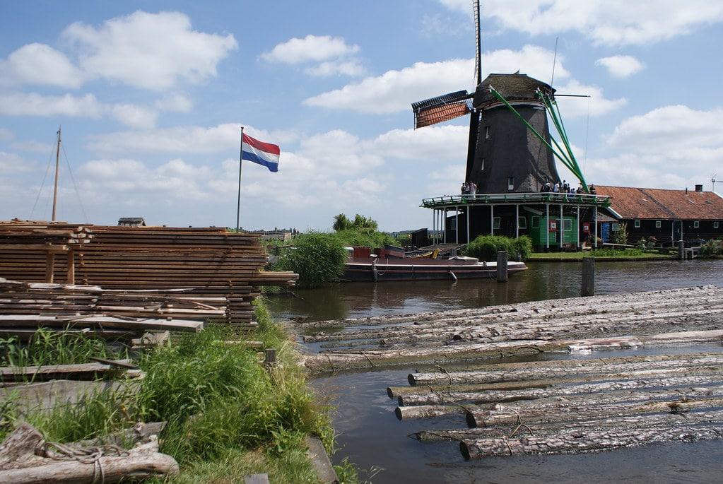 Moulin à huile (musée) avec au premier plan le bois du moulin-scierie (musée incontournable).