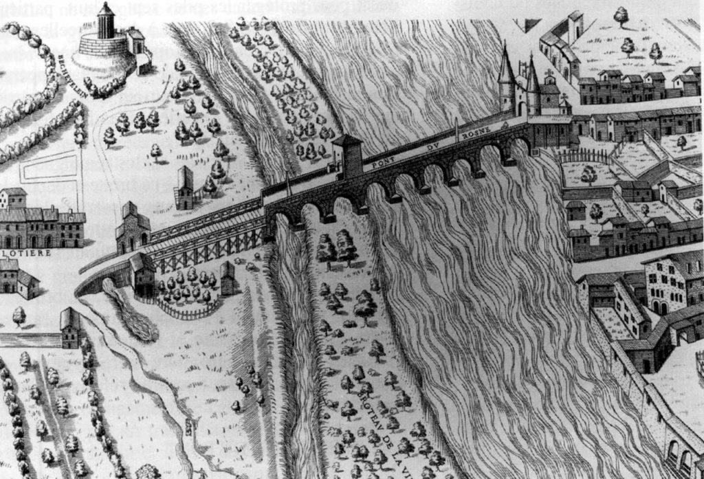 Pont de Guillotière à Lyon vers 1560.
