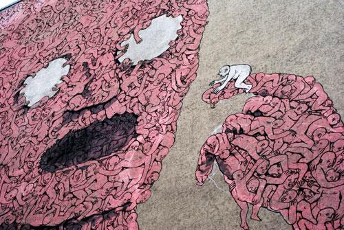 Street art : Oeuvre inquiétante de BLU à Berlin.