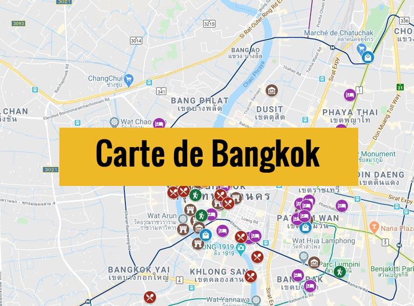 Carte de Bangkok (Thaïlande) avec tous les lieux du guide touristique.