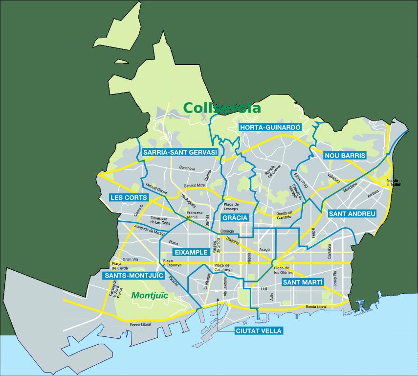 Carte des quartiers de Barcelone - Image de Vinals