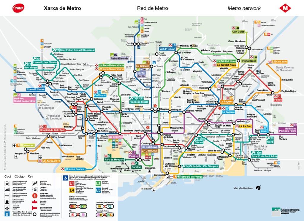 Plan du réseau de métro de Barcelone.