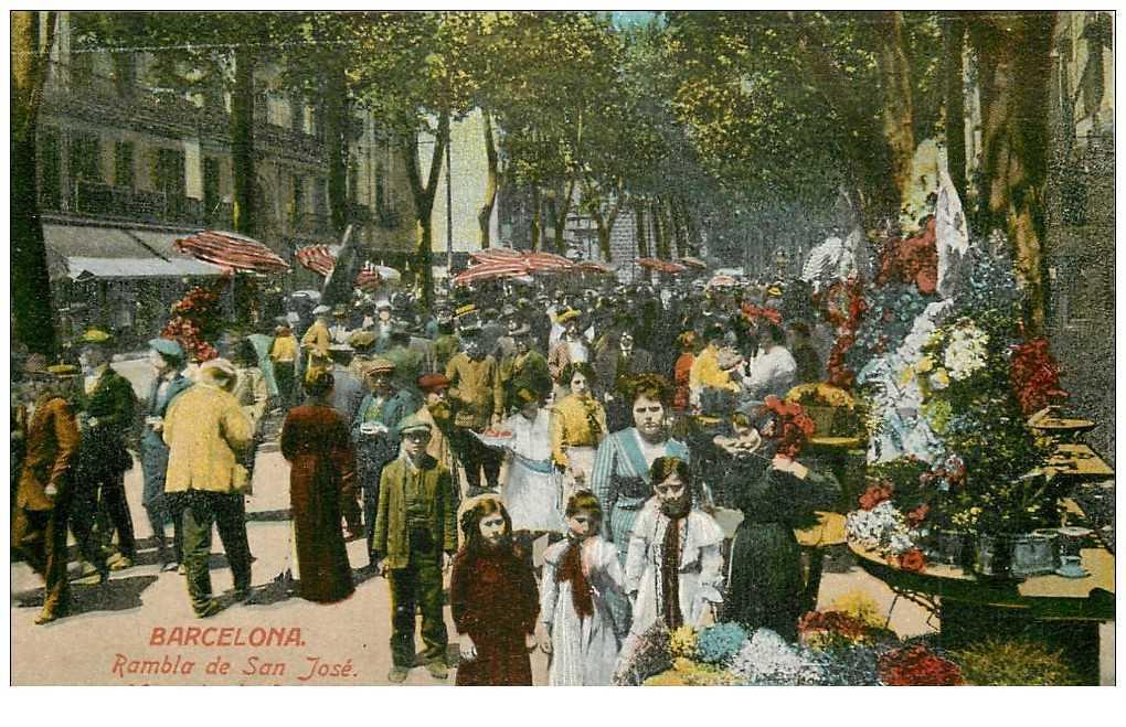 Carte postale des Ramblas à Barcelone en 1900.