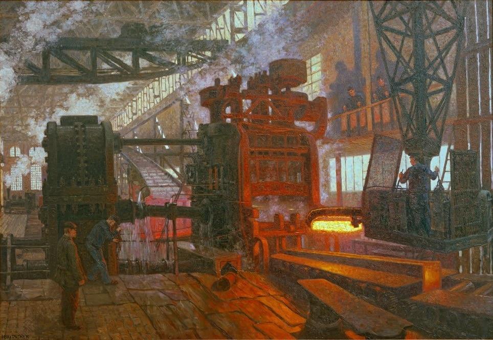 """Hahn'sche Werke - Hans Baluschek /Hahn'sche Werke"" (1910) Oeuvre de Hans Baluschek dans Bröhan Museum du quartier de Charlottenburg à Berlin."