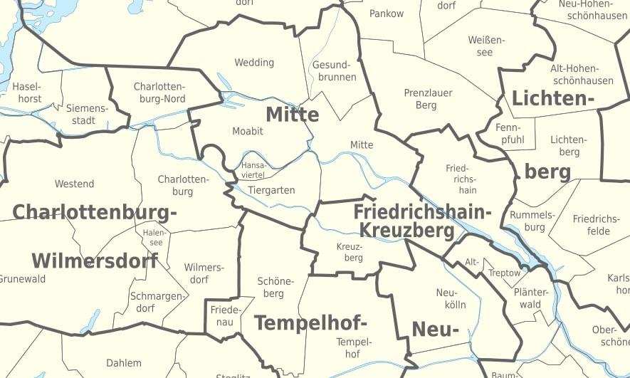Carte des quartiers du centre de Berlin.