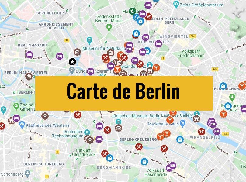 Carte de Berlin (Allemagne) avec tous les lieux du guide touristique.