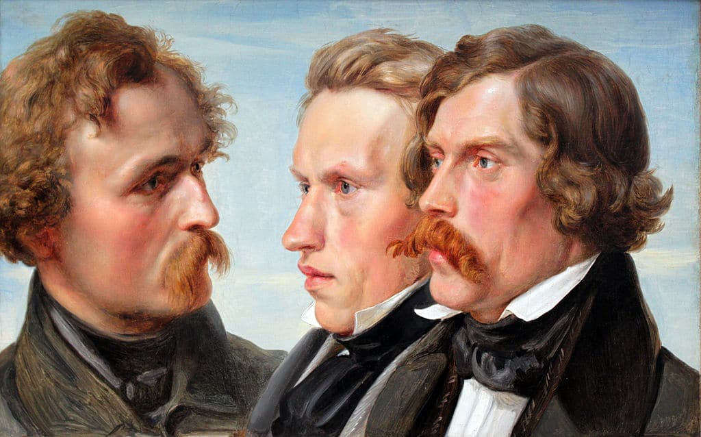 Portrait d'artistes de Hubner (1839) au musée du 19e, l'Alte-Nationalgalerie