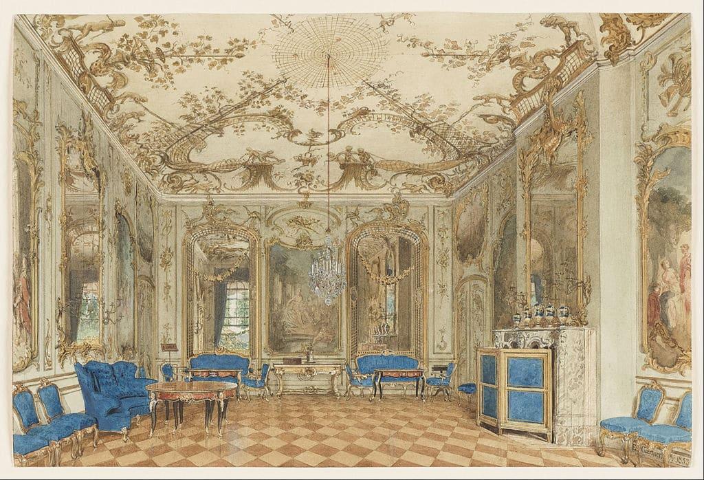 Salle de concert du Palais Sans Souci à Potsdam près de Berlin - Oeuvre de Eduard Gaertner