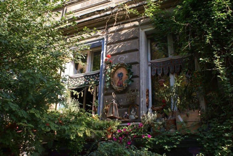 Fenêtres décorées et plantes luxuriantes dans le quartier de Prenzlauer Berg à Berlin.
