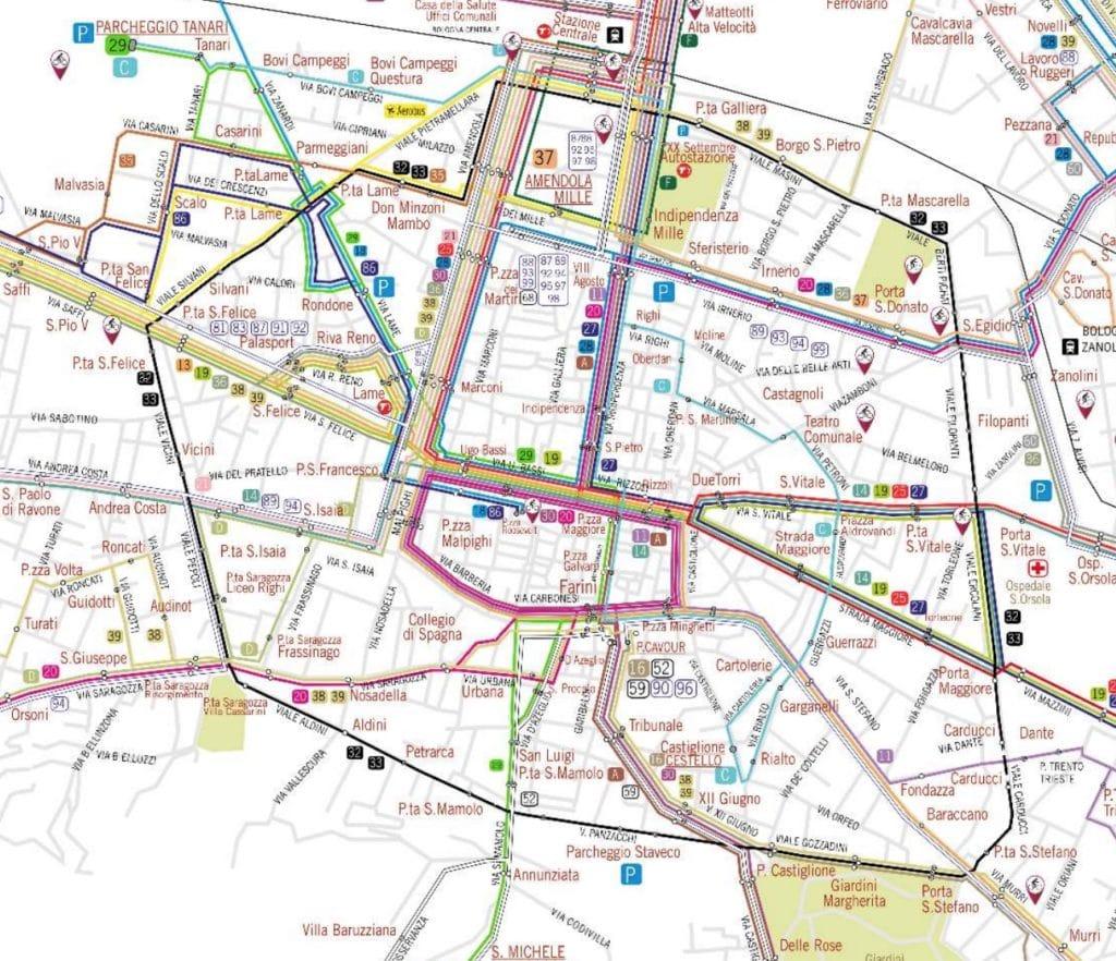 Carte du réseau de bus de Bologne.