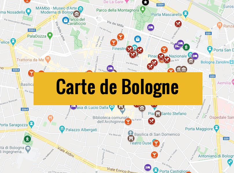 Carte de Bologne (Italie) avec tous les lieux du guide touristique.