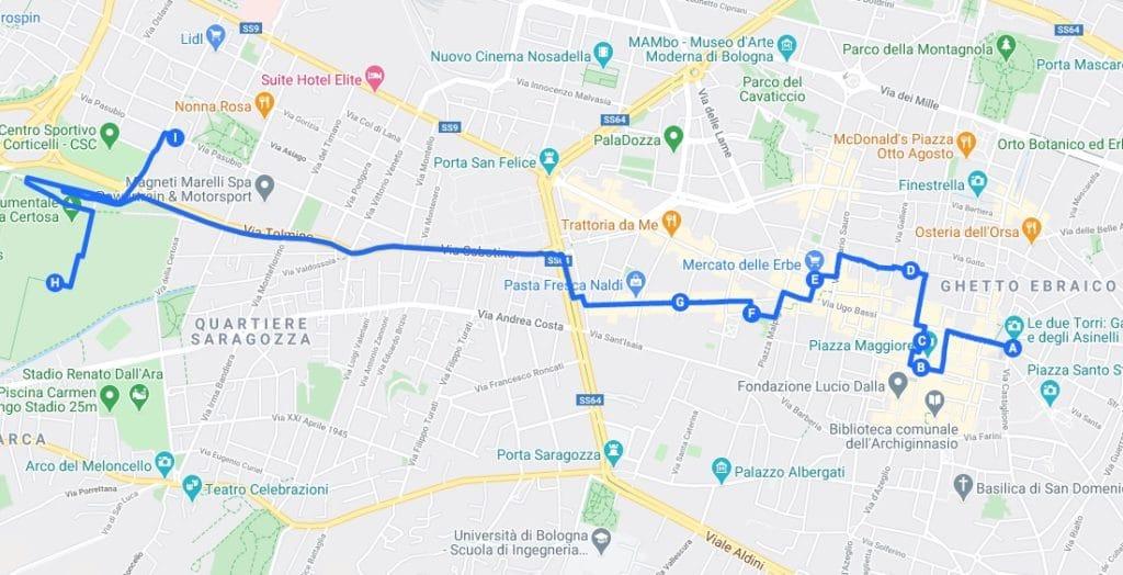 Itinéraire à Bologne : Proposition pour la première journée.