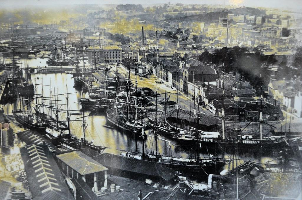 Une vue aérienne sur le port de Bristol datant de la fin du 19e siècle, début 20e.