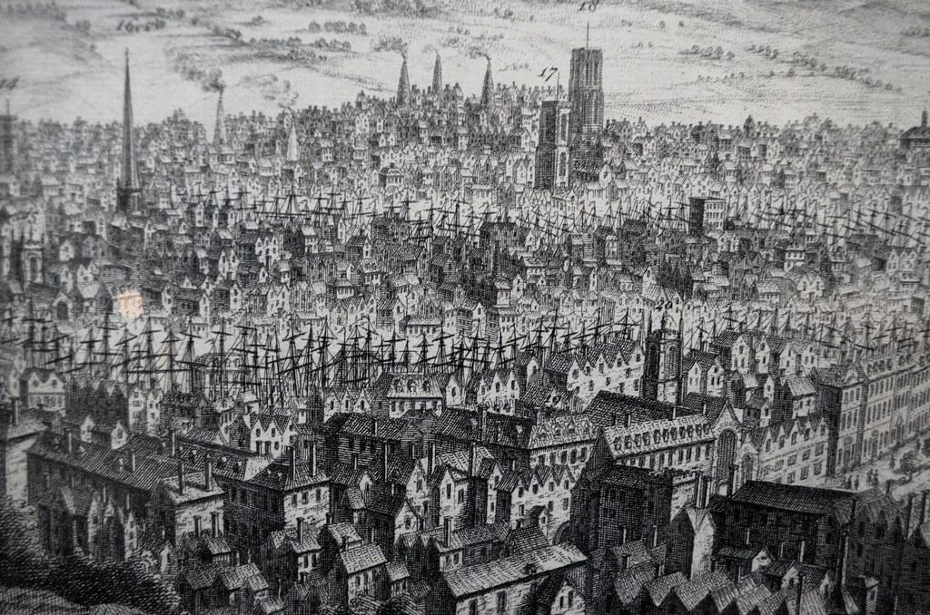 Bristol : L'un des ports les plus importants de l'Angleterre jusqu'à la révolution industrielle, sur cette image les innombrables mats de bateaux en témoignent.