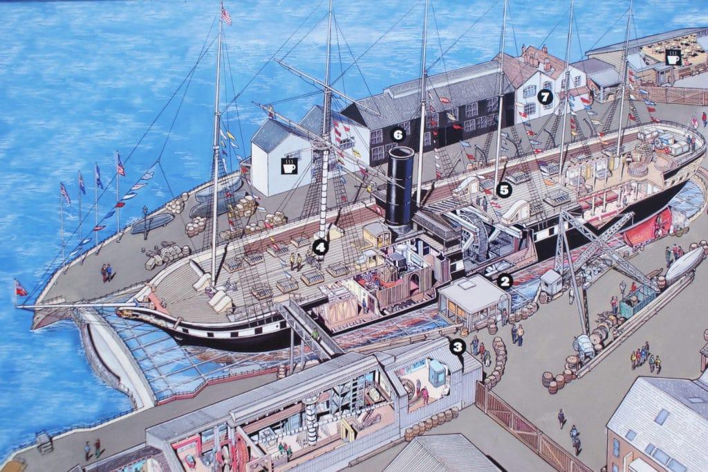 Carte du musée autour du bateau SS Great Britain de Brunel à Bristol.