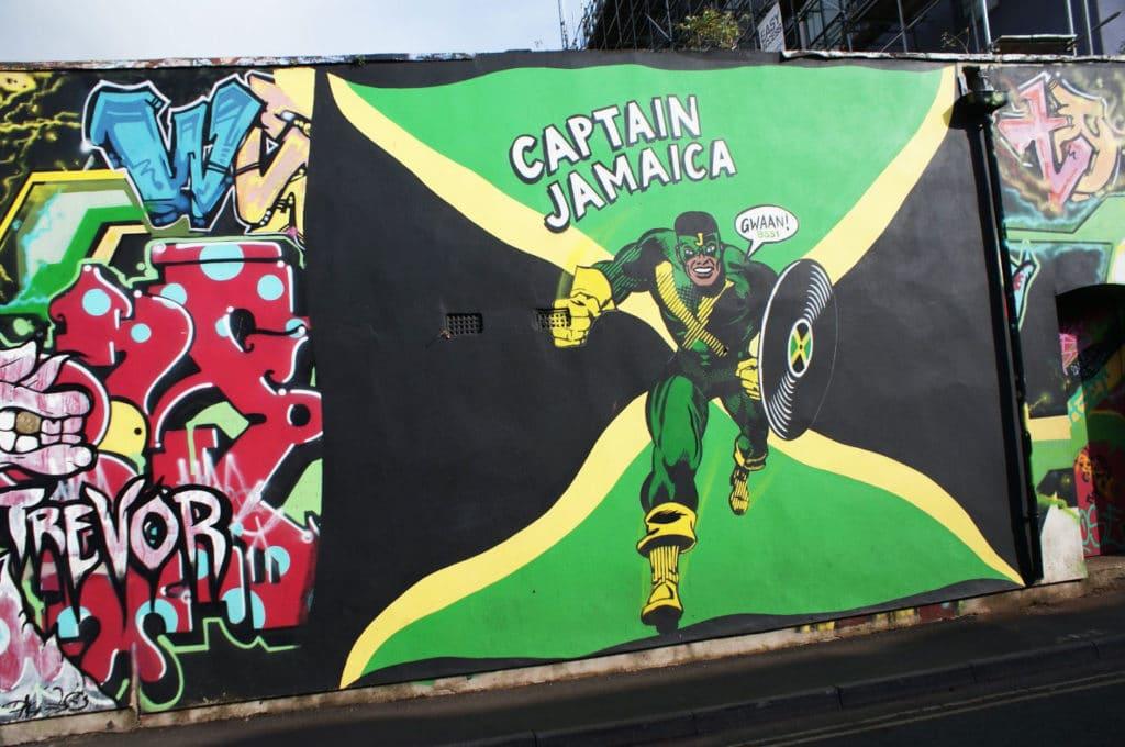 Street art à Bristol : Captain Jamaica dans le quartier de Saint Pauls.