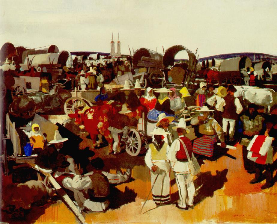 """Tableau """"Marché à Csíkszereda"""" de Vilmos Aba-Novák à la Galerie Nationale de Budapest."""