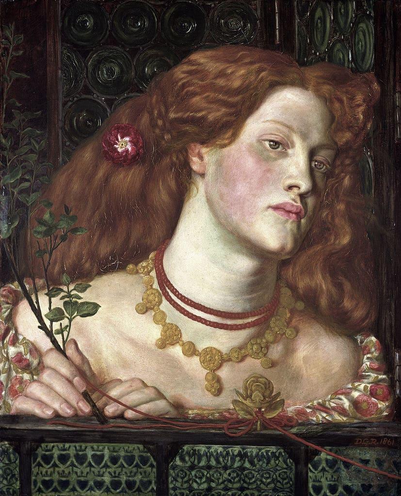"""Fair Rosamund"" (1861), tableau de Dante Gabriel Rossetti au National Museum Cardiff."